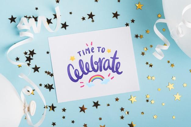 Makieta karty z projektem urodzinowym