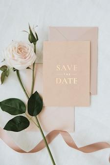 Makieta karty zaproszenia na ślub botaniczny
