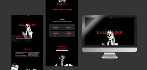 Makieta kobieta halloween na różnych cyfrowych pulpicie