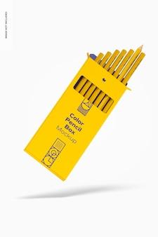 Makieta kolorowego pudełka na ołówki, pływająca