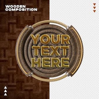 Makieta kompozycji drewnianej w renderowaniu 3d