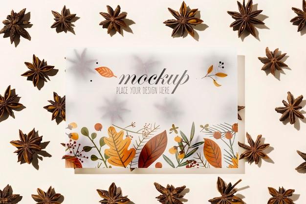 Makieta kompozycji jesiennych kwiatów
