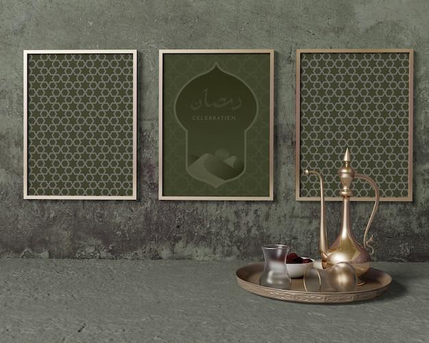 Makieta kompozycji ramadan z ramkami