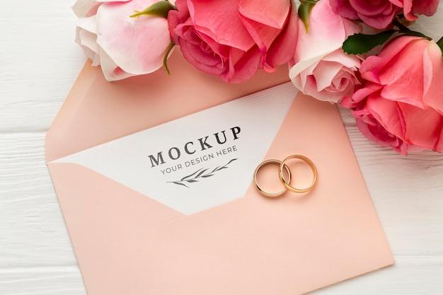 Makieta koncepcja piękny ślub kwiatowy