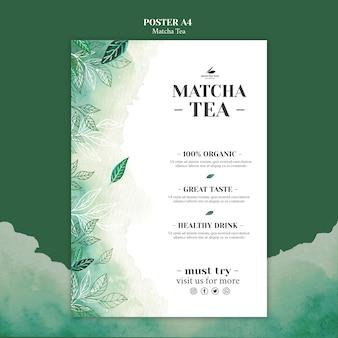 Makieta koncepcji plakat herbaty matcha