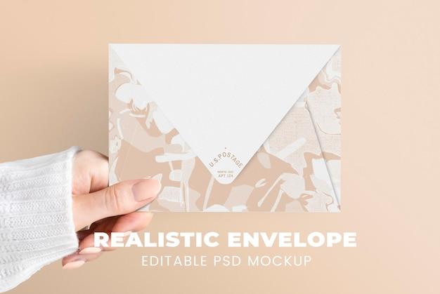 Makieta koperty z abstrakcyjnym wzorem psd w kolorze białym i beżowym