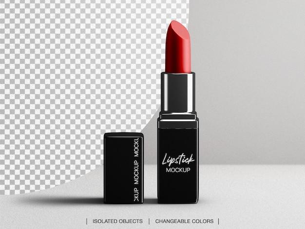 Makieta kosmetycznego makijażu szminki z pokrywką na białym tle
