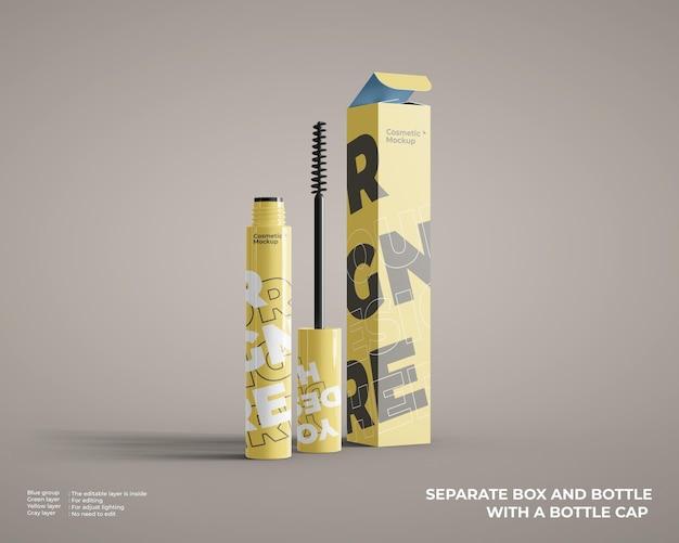 Makieta kosmetycznej butelki ze szczoteczką do brwi z opakowaniem pudełkowym
