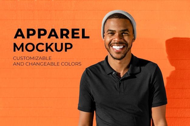 Makieta koszulki polo psd, młodzieżowa letnia moda