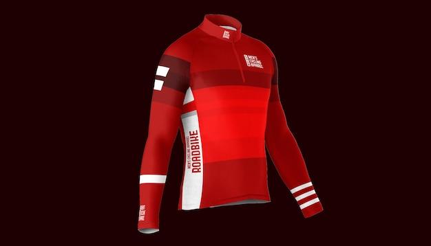 Makieta koszulki rowerowej z zamkiem błyskawicznym do połowy z boku