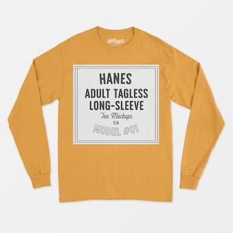 Makieta koszulki z długim rękawem dla dorosłych hanes