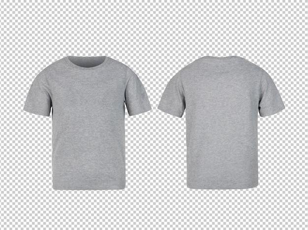 Makieta koszulki z przodu i tyłu w kolorze szarym dla dzieci