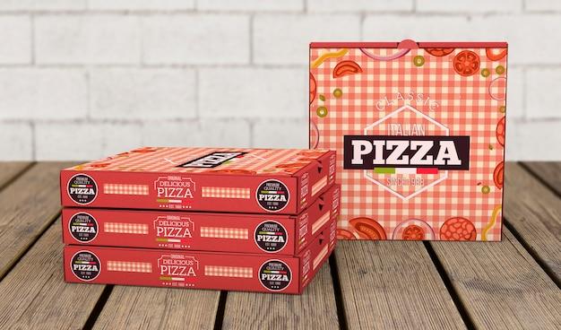 Makieta kreatywnych pudełka pizzy
