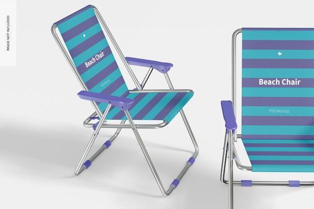Makieta krzeseł plażowych, widok z prawej i z przodu