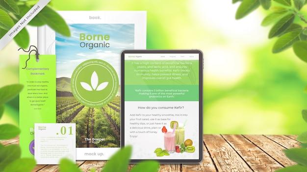 Makieta książki i makieta czytelnika tabletu projekt produktu ekologicznego