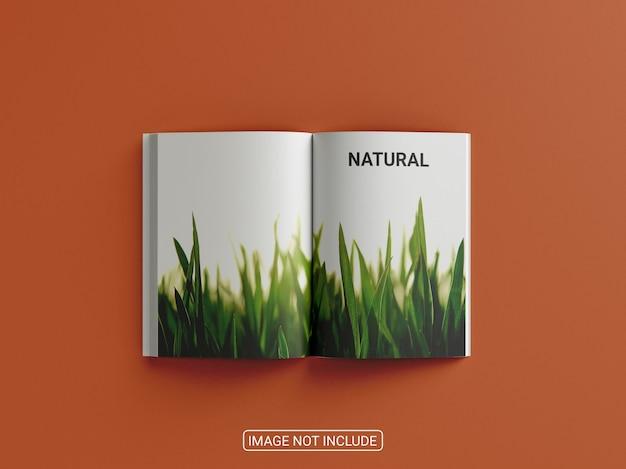 Makieta książki i okładki magazynu z widokiem z góry