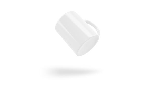 Makieta kubek ceramiczny biały latający na białym tle