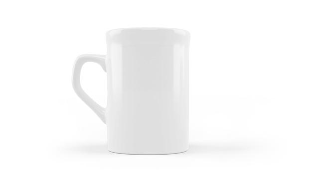 Makieta kubek ceramiczny biały na białym tle