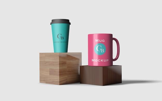 Makieta kubka i papierowej filiżanki kawy