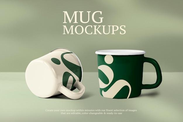 Makieta kubka psd w reklamie edytowalnej z zielonym alfabetem g