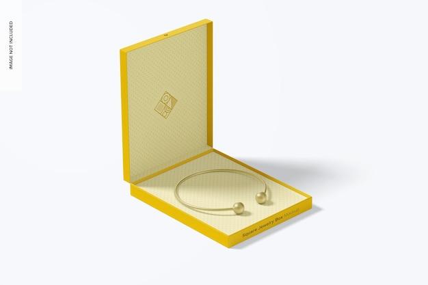 Makieta kwadratowego pudełka z biżuterią