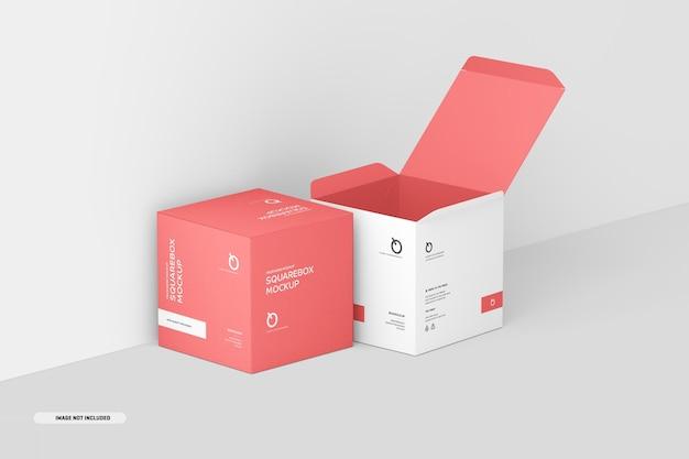 Makieta Kwadratowego Pudełka Premium Psd