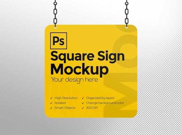 Makieta kwadratowego znaku z łańcuchami do reklamy lub marki