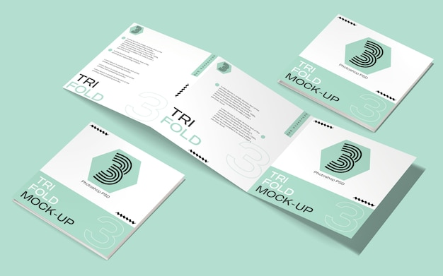 Makieta kwadratowej broszury składanej na trzy części