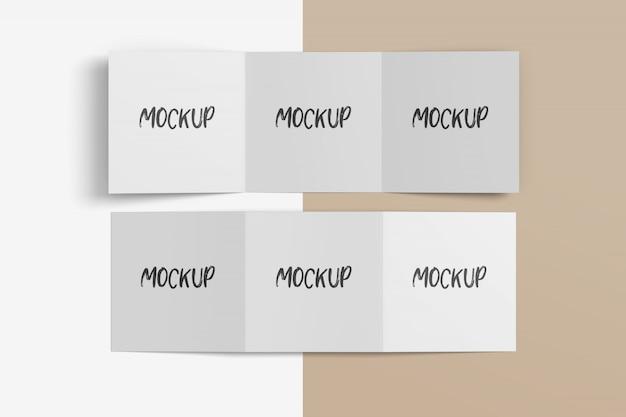 Makieta kwadratowej broszury składanej trzy razy free psd
