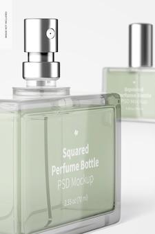 Makieta kwadratowej butelki perfum, zbliżenie