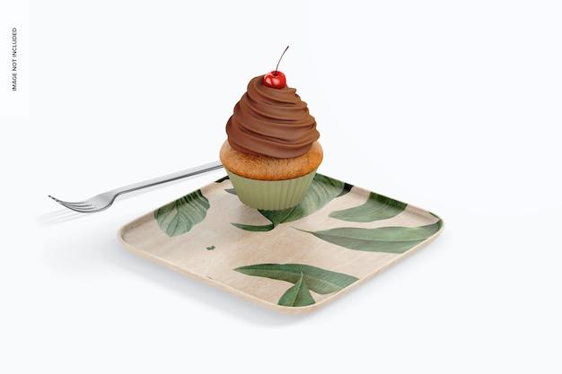 Makieta kwadratowej płyty deserowej, widok z przodu