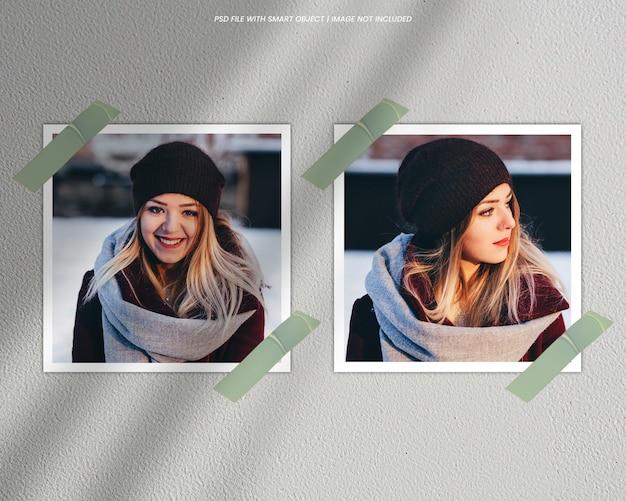 Makieta kwadratowej ramki na zdjęcia polaroid premium psd