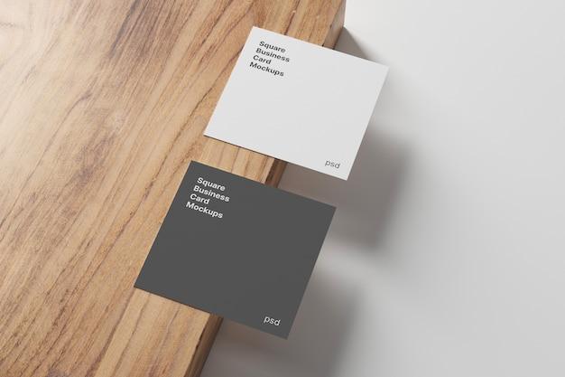Makieta Kwadratowej Wizytówki Na Panelu Drewnianym Premium Psd