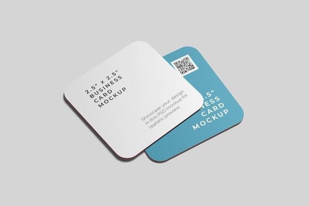Makieta kwadratowej zaokrąglonej wizytówki