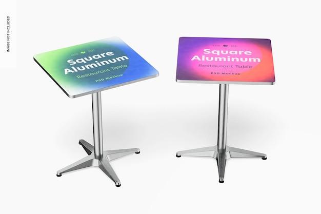 Makieta kwadratowych aluminiowych stołów restauracyjnych