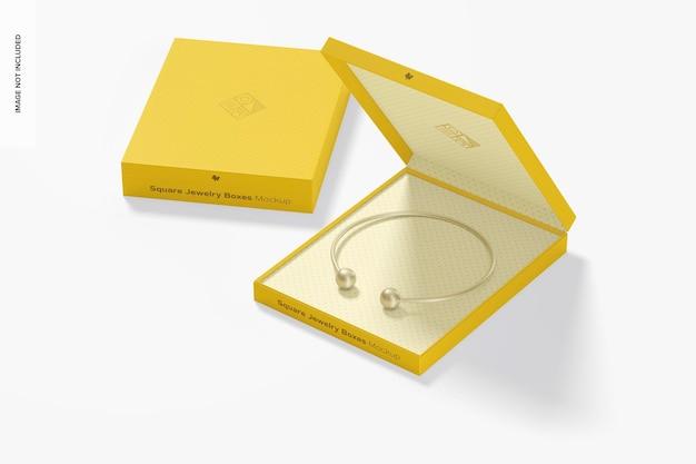 Makieta kwadratowych pudełek z biżuterią, otwierana i zamykana