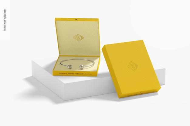 Makieta kwadratowych pudełek z biżuterią, perspektywa