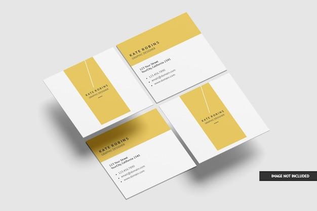 Makieta kwadratowych wizytówek na białym tle