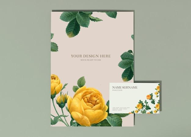 Makieta kwiatowy plakat i wizytówki