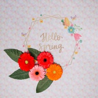 Makieta kwiatowy ramki na wiosnę