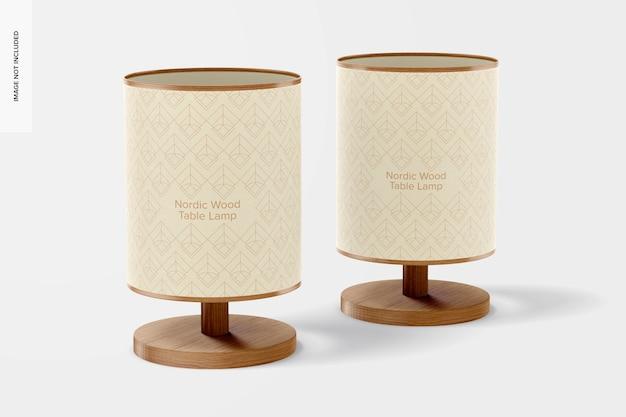 Makieta lamp stołowych z drewna nordyckiego