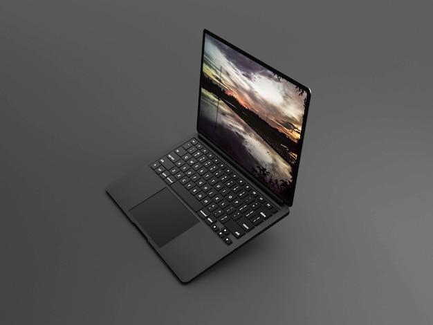 Makieta laptopa 3d w kolorze czarnym