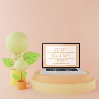 Makieta laptopa na podium 3d pastelowy kolor, makieta strony docelowej