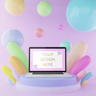 Makieta laptopa na podium z elementami abstrakcyjnymi 3d ilustracyjny pastelowy kolor