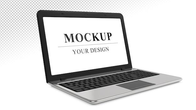 Makieta laptopa realistyczny srebrny notatnik na białym tle