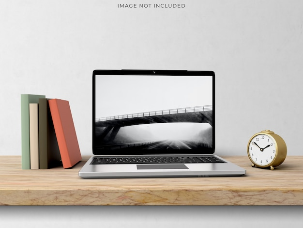 Makieta laptopa stojącego na nowoczesnym wnętrzu salonu.