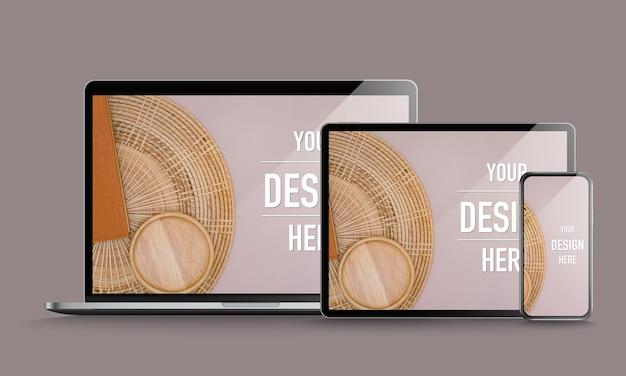 Makieta laptopa, tabletu i smartfona z makietą ekranu