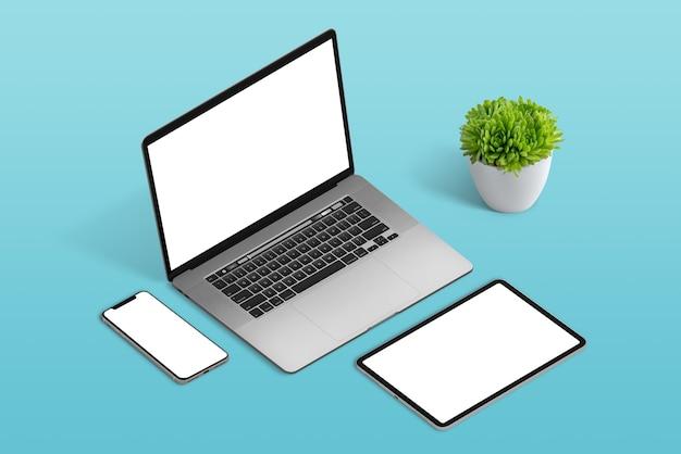 Makieta laptopa, telefonu i tabletu na białym tle