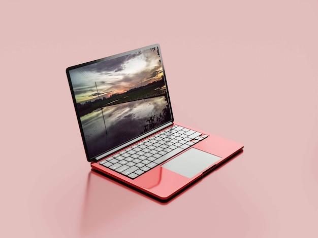 Makieta laptopa w kolorze czerwonym