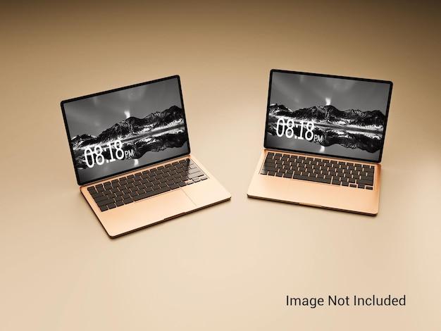 Makieta laptopa w kolorze złotym